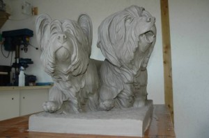 Foundry Ready Clay Cast of Skye Terrier's Homecoming